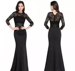 Wholesale Vestidos Noche Cheap - Cheap Black Mermaid Long Evening Dresses 2017 Satin Lac Bateau Neck Zipper-Up Floor Length Vestidos Noche Prom Gowns Under 30