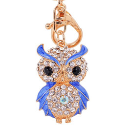 Wholesale Gold Enamel Ring - Lovely Enamel Owl Key Chains Rings Holder Amazing Rhinestone Purse Bag Buckle Pendant For Car Keyrings KeyChains