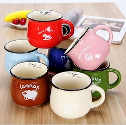 Wholesale Large Ceramic Coffee Mugs Lid - Multicolour Large ceramic zakka milk mug breakfast cup barley flake cup 7 colors fashion coffee cup free shipping