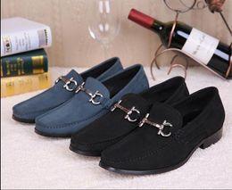 Wholesale Plus Size Black Slip - Italy Style Men's Bussines Dress Shoes Men Flats Loafers Handmade Black Blue Slippers Shoes Luxury Men's Party Wedding Shoes Plus Size 39-45