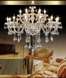 Wholesale Candel Led Light E14 - Luxury Modern Crystal Lighting Chandelier Living Room Indoor Crystal Lights Hotel Light 18 candel Chandelier crystal bed room