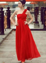 Wholesale Red Wedding Evening Dress - The bride toast served 2016 new explosion hit a single slim slender shoulder wedding dress red spring evening party