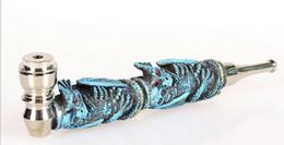 2019 cigarette à pointe bleue Creative bleu Chine dragon Métal tabac pipe tabac cigarette résine herbe tuyaux Le reggae jamaïcain fumer tuyaux père garçon cadeau bouche pointe promotion cigarette à pointe bleue
