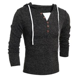 Wholesale Cheap V Neck Sweaters Solid - Wholesale- 2017 Autumn Winter Cheap Mens Sweaters Casual Slim Fit Hooded Solid Fashion Pullover Man Sweaters