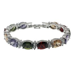 Wholesale Garnet Bracelet Sterling Silver - Natural Gemstone Links Bracelet 925 Sterling Silver Garnet Amethyst White Topaz Morganite Fashion Jewelry Chain 7 Inch