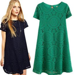 Wholesale Women Skirts Polka Dot Lace - 2017 summer Europe and the United States Women 's dress Lace Appliques dress Large size Loose short-sleeved Leisure skirt