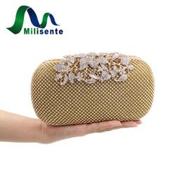 Wholesale Silver Prom Handbags Clutches - Wholesale- Diamond Rhinestone Women Crystal Prom Evening Bag Handbag Wedding Party Clutch Purse Silver Gold Black