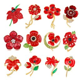 Wholesale Poppy Charms - Poppy Brooches New Arrival Alloy Rhinestone Brooch Pins Charming Crystal Flower Poppy Brooches Jewelry For Women Gifts