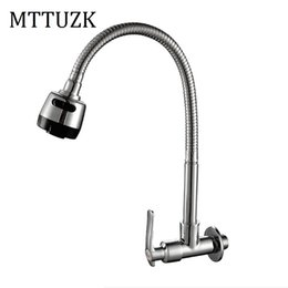 Wholesale Wall Mounted Kitchen Faucets Copper - Wholesale- Free Shipping!In wall mounted Copper kitchen faucet. fold expansion. DIY kitchen sink tap.Washing machine shower faucet 1pcs lot