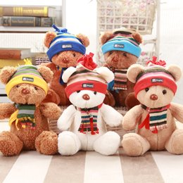 Wholesale Stuffed Bear Sweaters - 30cm Scarf Bear&Sweater bear plush toys muticolor dolls wedding throwing dolls claw machine dolls stuffed toy lovely Teddy bears
