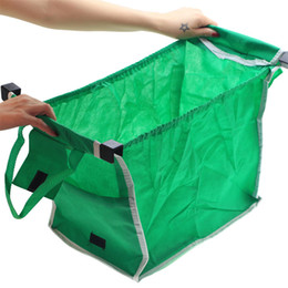 Grande tote da tela on-line-Reutilizáveis Grande Trolley Sacos De Compras De Supermercado Tote Organizador Saco De Armazenamento Dobrável Não Tecido Verde Alta Capacidade de Venda Quente 6 5rs J1