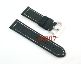 Wholesale Mixed Leather Watch Straps - P86 Cloth Leather Mixed 24mm Watch Straps Wristwatch Bands Polishes Buckle Men's Bands