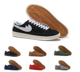 Wholesale Red Blazers Shoes - Top Quality Fashion BLAZER LOW PRM VNTG Running Shoes Men Women Ancient retro Cheap Walking Boots Men Women gazelle Shoes Size 36-44