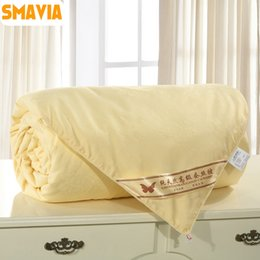 Wholesale Silk Blankets King - Wholesale- SMAVIA High Quality Silk Quilt 100% Mulberry Silk Comforter 100% Cotton Embossing Fabric Winter Spring Blankets Accept Custom