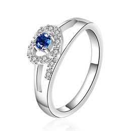 Wholesale 925 Rings Blue Heart - best gift Heart sterling silver ring GR535,women's blue gemstone 925 silver rings Wedding Rings