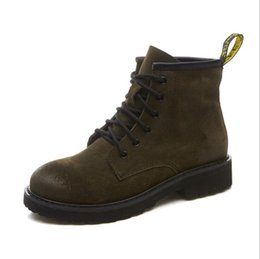 Wholesale motorcycle boots for short women - 2017 Spring Autumn Ankle Boots For Women Low Heel Genuine Cow Nubuck Leather Women's Fashion Short Martin Shoes