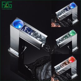 Wholesale Hot Cold Water Sensors - Automatic Water Faucet Cold Hot 3 Color Sensor Led Light Water Faucet Tap For Bathroom Waterfall Faucet Water Mixer Tap 287-66C