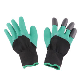 Wholesale Latex Work Gloves Wholesale - Rubber Polyester Builders Garden Glove Work Latex Gloves ABS Plastic Claws High Quality Light Bule and Green Color Digging Planting Gloves
