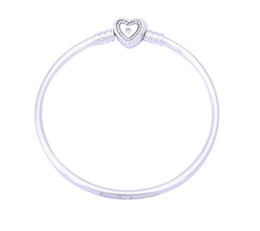 Wholesale Solid Silver Bracelet Chain - 100% Silver Sterling Silver Heart Bangle Family Forever Fit Original Pandora Bracelet Bangle Solid Silver