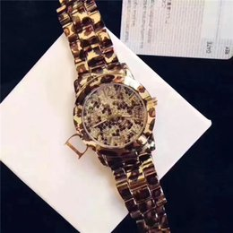 Wholesale Bronze Nice - Fashion Women Brand Watch Charming Leopard Stainless steel Lady Party Wristwatch Female Clock Free shipping High Quality Lovers' Gift Nice