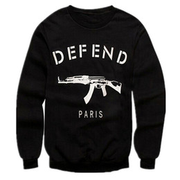 Wholesale Women S Slim Fit Hoodies - Wholesale-Men Women Letters GIV DEFEND PARIS AK47 Automatic Rifles Print Slim Fit Black Hoodies Pullover Hiphop 3D Sweatshirts Jersey Tops