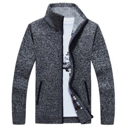 Wholesale Knit Vest Fur Collar - 2017 TOP trend NEW Men's Zip Up Sweater Knitted Cardigan Stand Collar warm Coat Jacket HOT