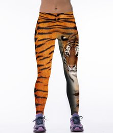 Wholesale Elastic Leopard - New Fashion Gym Trousers Tiger Pattern Yoga Pants Leopard 3D Print Leggings High Elastic High Waist Tights CK1097