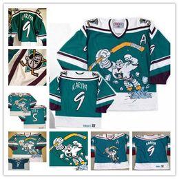 "Wholesale paul kariya mighty ducks jersey - Mighty Ducks of Anaheim ""Wild Wing"" 1995-1996 Vintage # 8 Teemu Selanne 9 Paul Kariya Green Retro Stitched Mens Hockey Jersey M-3XL"