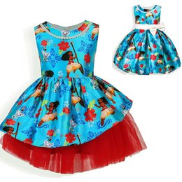 Wholesale Tropical Party Dresses - New Girls Moana Dresses Tropical Ocean Fancy Printed Dress 2017 Hawaiian Cosplay Gown Party Princess Children Clothing Kids Dresses PX-B33