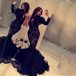 Wholesale One Shoulder Long Sleeve Gold - 2017 Free Shipping Evening Gowns Black Vestidos De Festa One Shoulder Lace Beaded Long Sleeve Organza Mermaid Prom Dresses