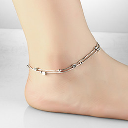 Wholesale Gold Filled Ball Chains - Vintage Womens Anklets Platinum Plated Foot Bracelet Cube Beads Pendant Expandable Ankle Chain Leg Jewelry Bridal Gift