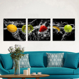 Wholesale Framed Paintings Fruit - 3 Panels HD Fruits Picture Decor Pictures Wall Art Picture Digital Art Print Canvas Printed Picture for Kitchen Room Dropship