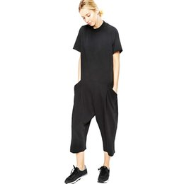 Wholesale Elegant Shorts Rompers - Loose Wide Leg Elegant Jumpsuit O Neck Short Sleeve Cotton Linen Sexy Rompers Womens Jumpsuit