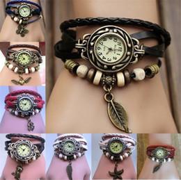 старинная кварцевая кожа Скидка Новая мода старинные 11 стили многослойные браслет искусственной кожи смотреть группа Wrap женщины браслет Кварцевые наручные женские часы B1165