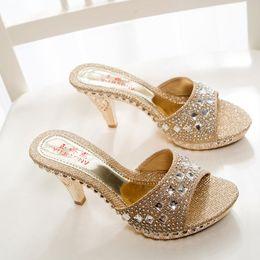 Wholesale Ladies Rhinestone Sandals - Hot Sale!!! Sexy Shoes Woman Summer Fashion Rhinestone High Heel Sandals Women Slippers Sandalias Ladies Shoes Size 35-39 TX0141