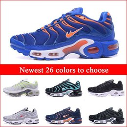 Wholesale Athletic Round Shoe Laces - Cheap Newest Running Shoes For Men Black White Blue Mens Air Sports TN Shoes Fashion Man Trainers Sneakers Jogging Tennis Athletic Shoes