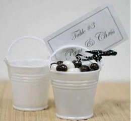 Wholesale White Wedding Pails - Free shipping Elegant White Mini Pails Wedding Favors, mini bucket, candy boxes favors,favor tins LLFA