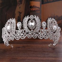 Wholesale Hair Ornaments For Women - European Wedding Hair Accessories Women Bridal White Crystal Tiara Crown for Prom Headban Baroque Hair Jewelry Ornament Headpieces Hairwear