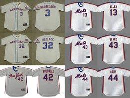 Wholesale Bud Man - Men's Women Youth New York Mets 3 BUD HARRELSON 13 NEIL ALLEN 32 JON MATLACK 42 ROGER McDOWELL 43 BILLY BEANE 44 DAVID CONE Jersey Stitched