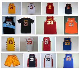 Wholesale Cheap Top Shirts - Retro Lebron James Jersey Throwback basketball Jersey Cheap Shorts White Blue Red 100% embroidery logo Sport Shirt Top Qualityt
