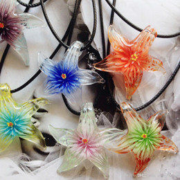 Wholesale Italian Murano Glass Pendants - Fashion Sea Star Starfish Italian Venetian Lampwork Clear Murano Glass Pendants Necklaces Jewelry Handmade Bulk Wholesale Cheap