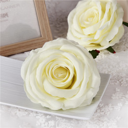 Wholesale Silk Rose Bouquets Weddings - 20Pcs 9CM Artificial Rose Flower Heads Silk Decorative Flower Party Decoration Wedding Wall Flower Bouquet White Artificial Roses Bouquet