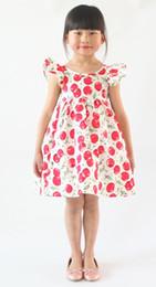 Wholesale Halter Neck Baby - 12colors INS Cherry lemon Cotton Backless Girl's Dresses floral beach dress cute baby summer backless halter dress kids vintage flower dress