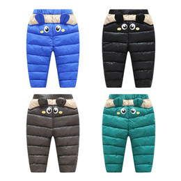 Wholesale Thick Black Girl Clothes - Baby Pants PU Surface Winter Warm For Boys Girls Waterproof Clothing Kids Thick Cotton Down Pants Children Winter Trousers