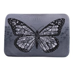 Wholesale Black White Butterfly Fabric - New 40*60cm Butterfly Bath Mats Anti-Slip Rugs Coral Fleece Carpet For For Bathroom Bedroom Doormat Online