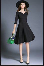 Wholesale Ladies Formal Dresses Wholesale - Women Fashion Sexy Ladies Dress Solid Color Black Dress Grace Little Hepburn Word Collar Full Dress Simple Three Quarter Sleeve Formal B-39