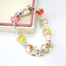 Wholesale Chamilia Crystal Beads - Colorful European Style Crystal charms Silver Plated Chamilia Beads Bracelet & Bangles for Women with Acylic Beads