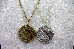 Wholesale Gift Songs - Fashion Jewelry Vintage Charm Song Of Ice And Fire Game Of Thrones Targaryen Dragon Badge Necklace