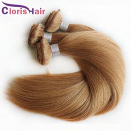 human hair extensions blonde highlights Promo Codes - Highlight #27 Blonde Raw Indian Human Hair Bundles Silky Straight Honey Blonde Hair Extensions Best Blonde Weaving Weft For Sale