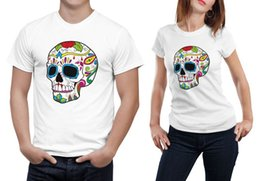 Wholesale Lovers Skull Print T Shirt - 2017 white Plus Size XXXL Lovers Harajuku Couple Hipster T shirt Tops The King His Queen Back Printed Tee shirts WMT309 diy Skull head